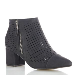 Cato Perforated Size Zip Bootie New Black New